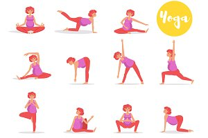 Set with pregnant women yoga.