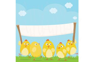 Happy Easter Chicks with Banner