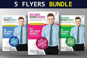 5 Flat Design Corporate Flyer Bundle