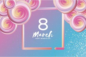 Bright liquid pink flowers. Purple 8 March. Happy Women s Day. Mother s Day. Text. Square 3d frame. Spring blossom. Seasonal holiday.Modern decoration on sky blue.