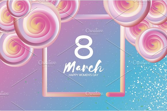 Bright Liquid Pink Flowers Purple 8 March Happy Women S Day Mother S Day Text Square 3D Frame Spring Blossom Seasonal Holiday.Modern Decoration On Sky Blue