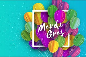 Happy Mardi Gras in paper cut style. Origami Carnival background with ballon. Square frame. Colorful decoration for party, celebration, banner, card, gift. Bunch baloon. Seasonal holiday.