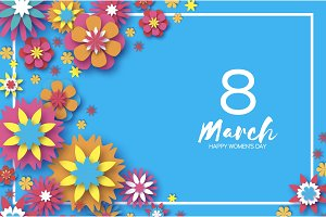 8 March. Happy Women s Day. Colorful Paper cut Floral Greeting card. Origami flower. Rectangle frame. Text. Happy Mother s Day. Text. Spring blossom. Seasonal holiday on blue sky. Trendy decoration.