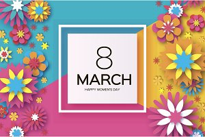 8 March. Happy Women's Day. Colorful Paper cut Floral Greeting card. Origami flower .Square frame. text. Happy Mother's Day. Text. Spring blossom. Seasonal holiday on blue sky. Trendy decoration.