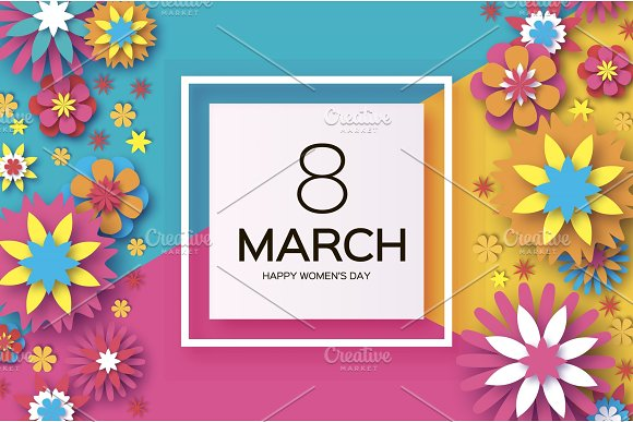 8 March Happy Women's Day Colorful Paper Cut Floral Greeting Card Origami Flower Square Frame Text Happy Mother's Day Text Spring Blossom Seasonal Holiday On Blue Sky Trendy Decoration
