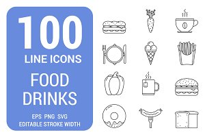 100 Food and Drinks Line Icons