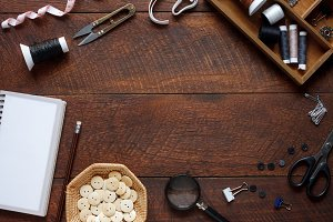 Top view tailor tools.