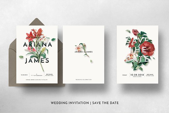 Modern Vintage Floral Wedding Suite ~ Invitation Templates ...
