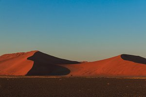 Mighty red sand dune at sunset Sossusvlei