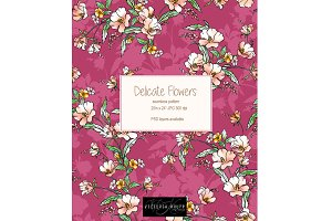 Delicate Flowers seamless pattern