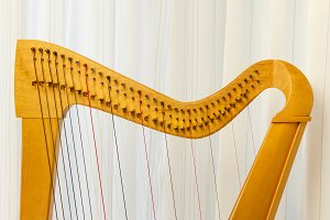Celtic harp close-up top part