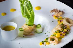 Calamari with mango sauce.