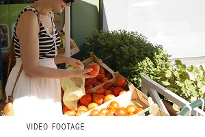 Young woman shopping vegetables