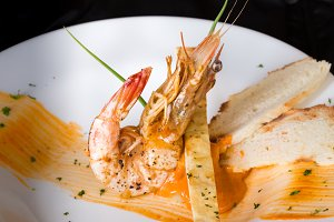 Tiger prawn with spicy sauce with nice decoration.