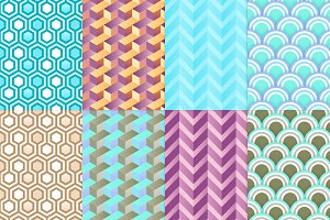 8 vivid geometric seamless patterns