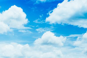 Close-up Blue sky with white fluffy cloudy.