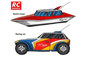 RC transport, remote control models. toys design elements for emblems. boat or ship and car or machine. revival radios tuner broadcasting system. Innovative technologies. engraved hand drawn.