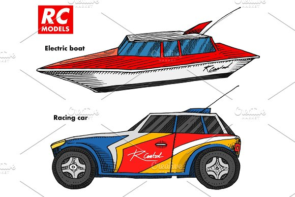 RC Transport Remote Control Models Toys Design Elements For Emblems Boat Or Ship And Car Or Machine Revival Radios Tuner Broadcasting System Innovative Technologies Engraved Hand Drawn