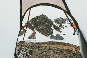 Camping tent entrance mountains view