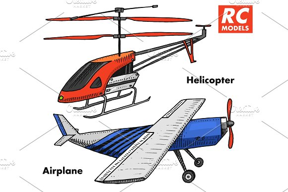 RC transport, remote control models. toys design elements for emblems, icon. helicopter and aircraft or plane. revival radios tuner broadcasting system. Innovative technologies. engraved hand drawn.