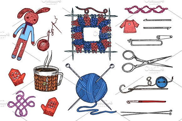 Set tools for knitting or crochet and materials or elements for needlework. club sewing. handmade for DIY. tailor shop. yarn and wool natural home sheep, tangle with needles. engraved hand drawn.