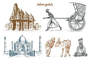 Indian monk meditating and landmark or architecture. Taj Mahal, traditional animal cow. Hindu farmer with rickshaw. mausoleum-mosque. engraved hand drawn in old sketch, vintage style.