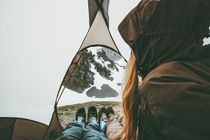 Travel couple in tent camping