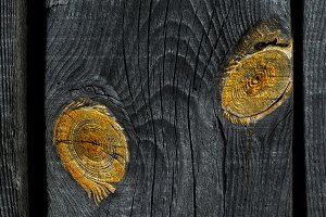 old knotted wooden board closeup