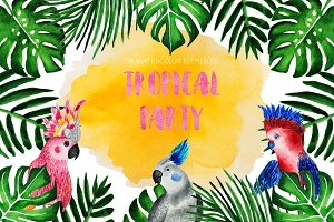 Tropical Party. Watercolor parrots