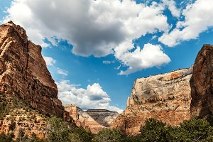 Colorful Red Rock Peaks and Clouds