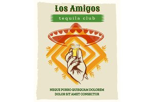 Vintage tequila poster with sombrero hat