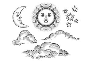 Retro engraved moon, sun celestial faces