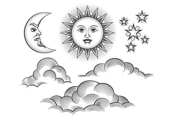 Retro engraved moon, sun celestial…