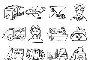Logistic sketch decorative icons set