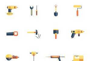 Home repair tools icons flat