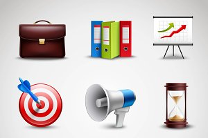 Realistic business icons set