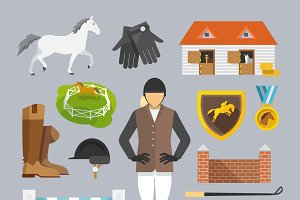 Jockey decorative icons flat set