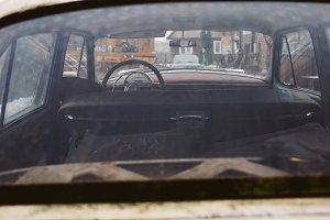 Back view of retro car