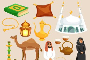 Arabic culture cartoon icons set