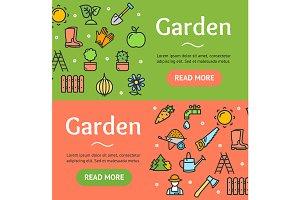 Gardening Banner Set. Vector