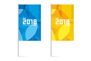 Winter sports games in South Korea 2018. Blue and yellow flags. Vector illustration.