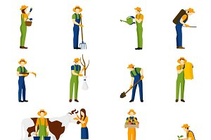 Farmer at work flat icons