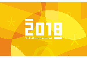 Winter sports games in South Korea 2018. Yellow abstract background. Geometric shapes. Sport identity. Vector illustration.