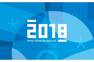 Winter sports games in South Korea 2018. Blue abstract background. Geometric shapes. Sport identity. Vector illustration