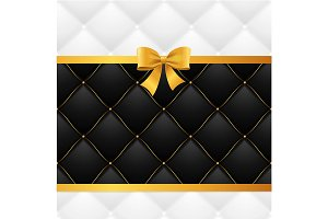 Ribbon Bow And Quilted Background