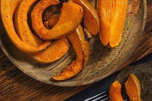 Baked pumpkin, rustic style.