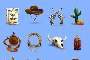 Wild west realistic icons set