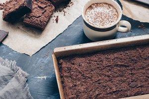 Chocolate cake and hot coffee