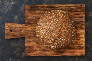 Round rye bread sprinkled with sunfl