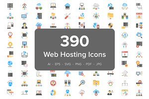390 Web Hosting Flat Vector Icons